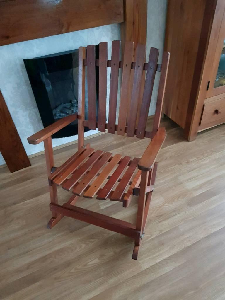 Rocking garden wooden chair