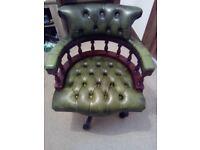 Sunning Dark Green Chesterfield Captains Chair