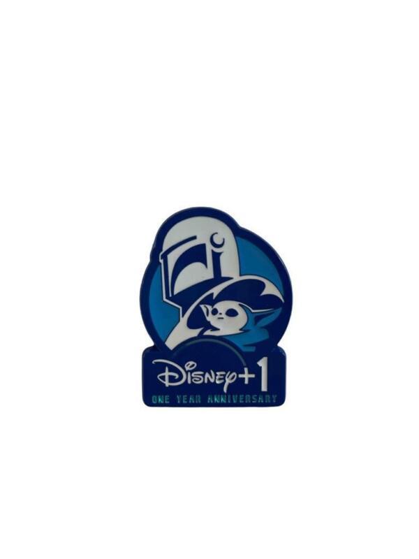 "NEW The Mandalorian Disney Plus 1 One Year Anniversary Pin Metal 1.5"" Collectibl"