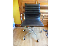 MID CENTURY Eames Inspired Low Back Office Chair EA108 In Black Leather
