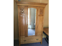 Beautiful Antique Carved Light Mahogany Great Quality Wardrobe with Large Drawer