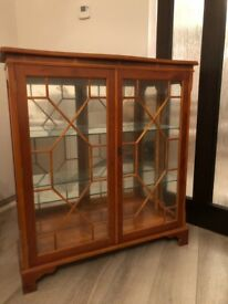 Yew Display Cabinet with mirrored back, freestanding