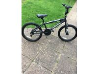 Boys 20 Inch Black Gyro SilverFox Reaper BMX Bike with rear stunt pegs.