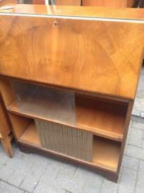 Vintage retro antique wooden bureau glass display cabinet book case storage cabinet