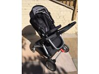 Mothercare travel system, Car Seat, Moses Basket, Rain Cover, Foot Muff (ONO)