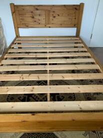 Double bed frame made from a strong wood