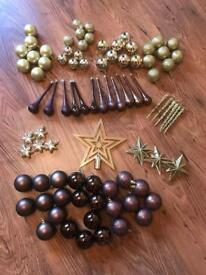 86x Brown & Gold Christmas Tree Decorations EXCELLENT CONDITION