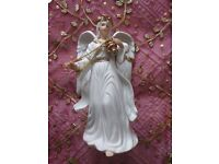 """*Porcelain Christmas Angel Ornament with Incense Large Figurine:""""Traditions""""White & Gold:Decoration"""