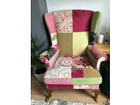 Pink patchwork Parker Knoll armchair