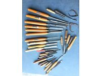 Set of Sorby Woodturning Chisels and Miscellaneous other chisels