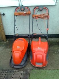 two flymo electric hover lawnmowers