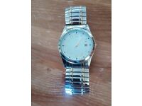 Mens two tone analogue watch with date function and stretch wrist band
