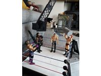 WWE Crash Cage with wrestlers and all accessories