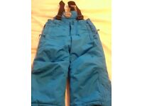 Kids parallel blue snowproof trousers with detachable braces size 2/3 years