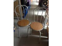 Pair of Bistro Chairs - Chrome with Wooden Seats