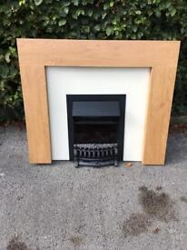 Electric fireplace with wood surround