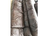 Sofa, 3 seater brown leather DFS used