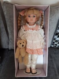 "Porcelain Doll, The Leonardo Collection, Girl with Teddy Bear, 19"", Boxed, New"