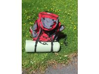 Vango backpack with Gelert sleeping bag and mat.