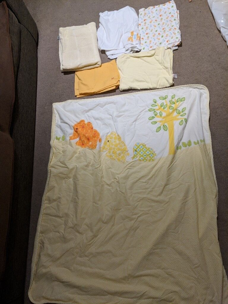 Mothercare yellow girl boy cot bed bedding blankets sheets