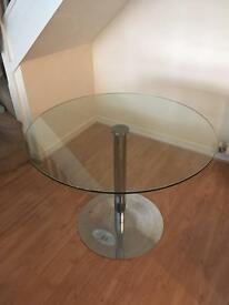Glass and Chrome Circular Dining Table
