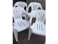 4x White Plastic Stacking Garden Chairs- Only 15- the lot