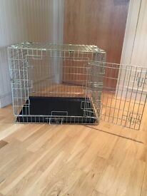 Metal Fold Flat Dog Crate with Plastic Tray