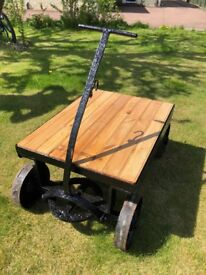 Cast Iron flatbed trolley. Ideal garden feature or prop. Gorgeous item