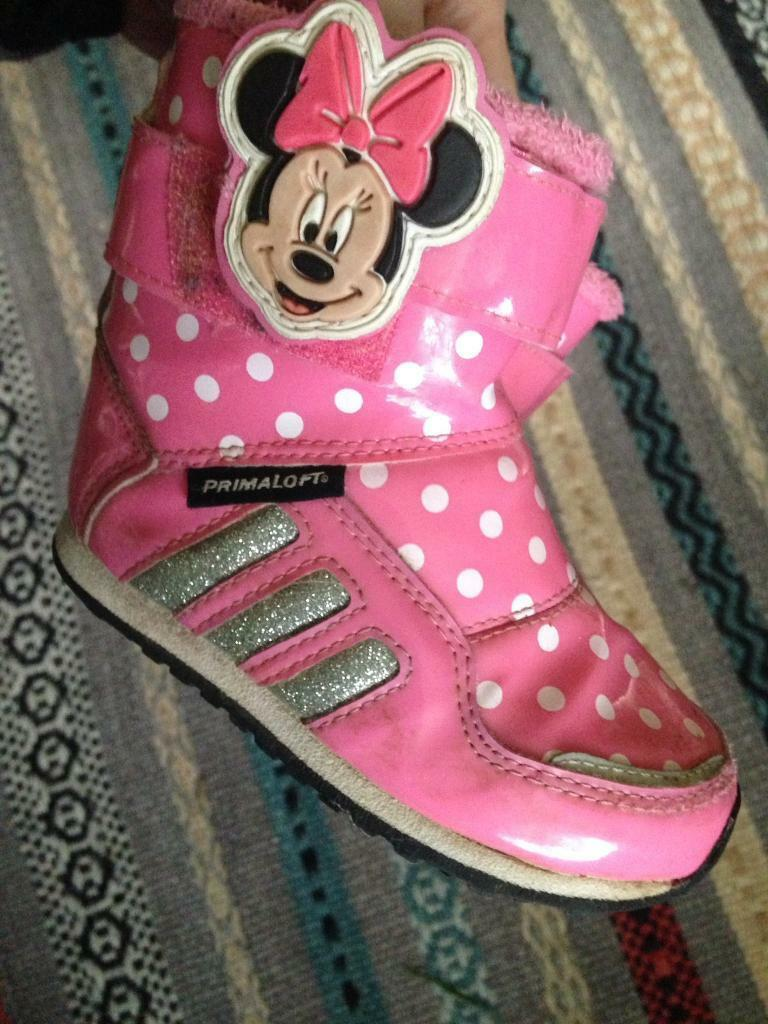 Baby girl size 5 adidas Minnie glitter trainers
