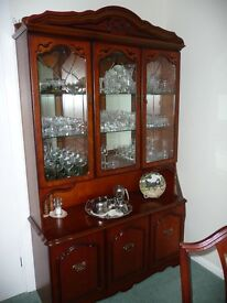 Glass Display Cabinet with Cupboards