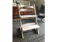 Stokke Tripp Trapp high chair - whitewash finish, including baby bar (no strap)