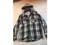 Authentic apparel men's winter shirt with hoody size L used £4