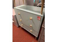 Blue 3 drawer chest