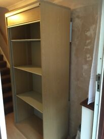 Wooden Office Filing Cabinet with Roller Shutter Door - Tambour
