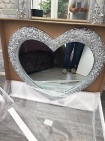 Massive chrome silver shabby heart shaped mirror