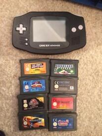 Black Nintendo Gameboy Advance and games