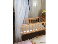 Bedside Wooden Baby Crib with Canopy