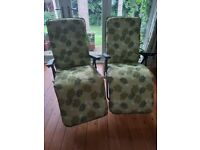 Pair of cushioned folding reclining sun loungers in good condition Darlington