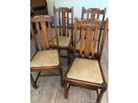 Antique Wooden Dining chairs x 4