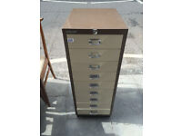 Bisley Filing cabinet , with 9 drawers. Size L 14in D 18in H 36in.