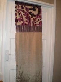 NEXT BRAND CURTAINS, 66 ins WIDE X 72 ins LONG, EYELET TYPE. AS NEW