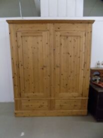 Large Solid Pine Wardrobe With 2 Deep Drawers