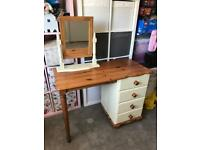 Solid pine chest of drawers and dressing table
