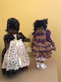 Porcelain faced dolls