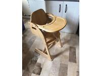 Mothercare valencia wooden high chair - natural