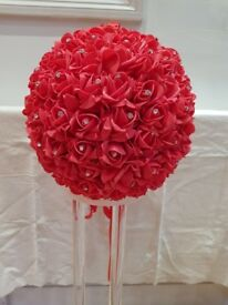 Wedding Event Decoration Flower Balls / Pomanders Red Roses with Diamante - BRAND NEW. Quality Roses