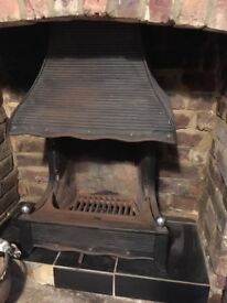 Antique Metal Fireplace with original fire brick