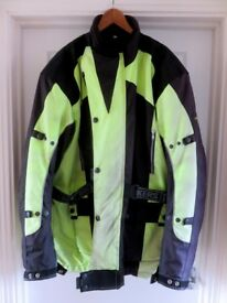 MOTORCYCLE JACKET &TROUSERS (Size XL plus) WATERPROOF and HIGH VIS
