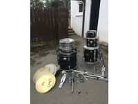 drums and cymbals, assorted
