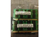 2 x Samsung 2GB memory modules for laptops